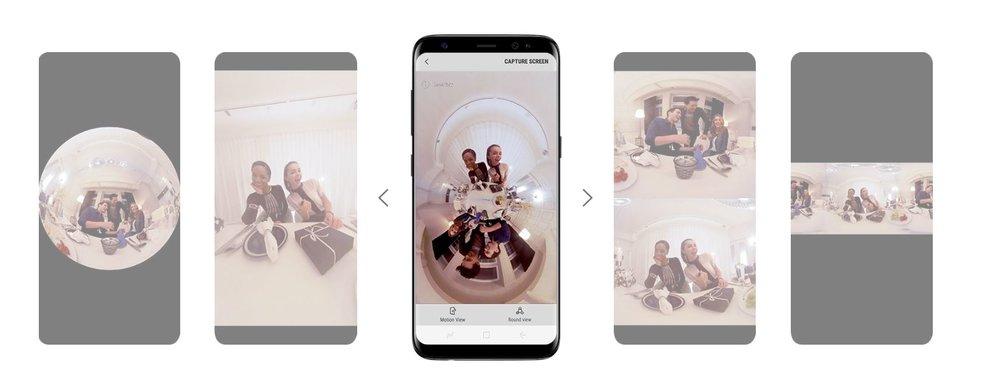 Fünf verschiedene Ansichten stehen dem 360-Grad-Filmer zur Auswahl (Quelle: Screenshot Samsung.com)