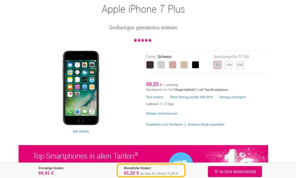 Screenshot von der Telekom-Website: Ein iPhone 7 Plus für 99,99 Euro scheint nicht teuer, die monatlichen Kosten von 65,20 Euro läppern sich aber, wenn man sie auf 24 Monate hochrechnet – reine Verkaufspsychologie