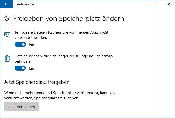 Windows 10 kann automatisch nicht benötigte Dateien löschen.