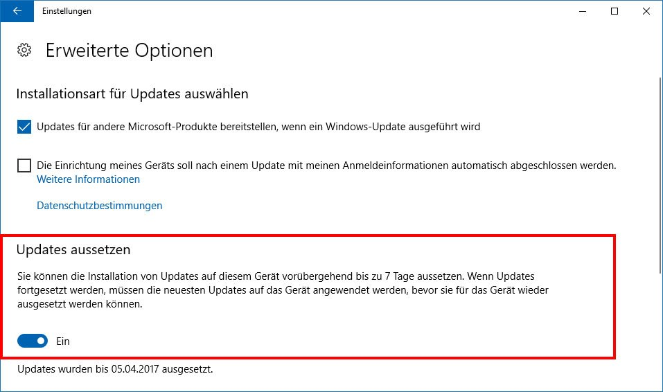 Windows 10: Hier könnt ihr Updates aussetzen.
