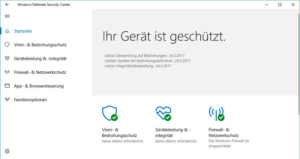 Das neue Windows Defender Security Center.