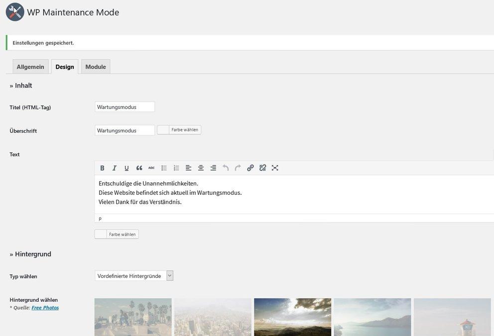 wordpress-wartungsmodus-plugin-backend