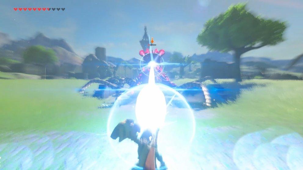 Pariert den Laserstrahl im richtigen Moment und schleudert den Angriff zurück zum Wächter.