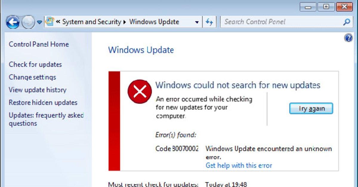 Lösung: 0x80070002 Update-Fehler in Windows