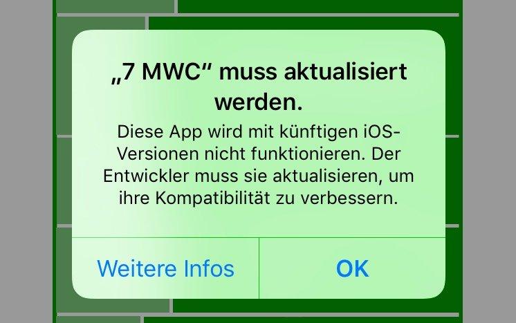 32-Bit-App: App muss aktualisiert werden.