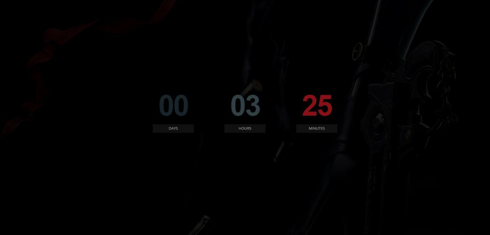 Screenshot der Website zum Bayonetta-Countdown