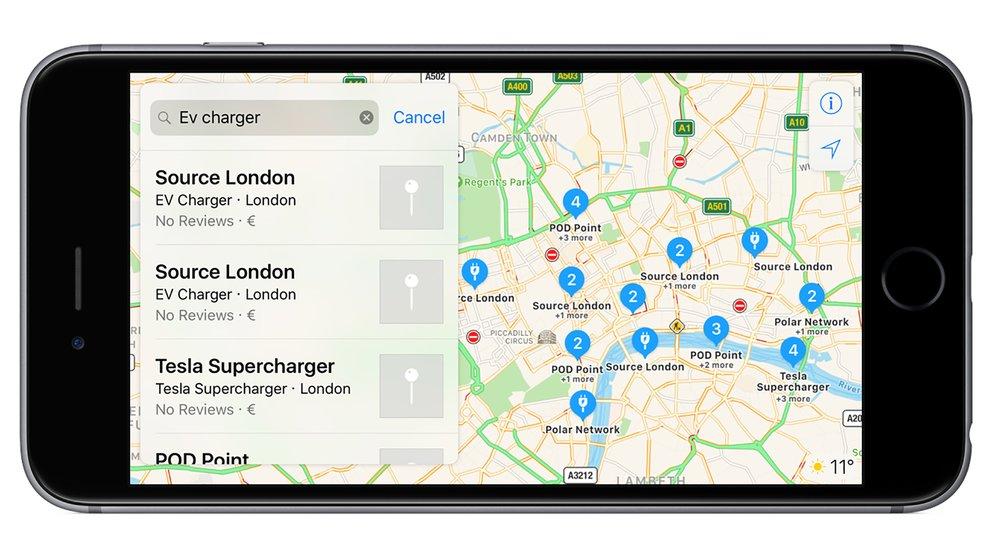 Apple Maps zeigt Ladestationen für Elektroautos in Europa