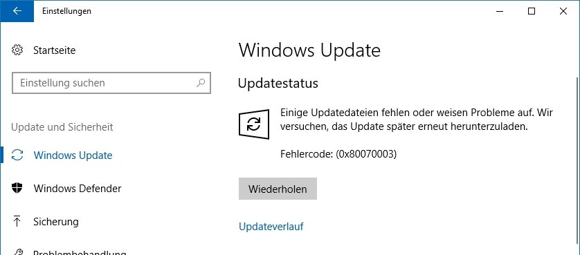Windows 1803 Update Fehler 0x80070003