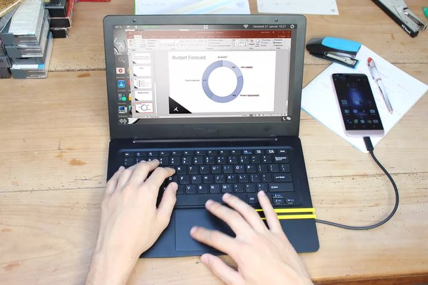Mirabook: Smartphone in ein Laptop mit Android, Windows oder Ubuntu verwandeln