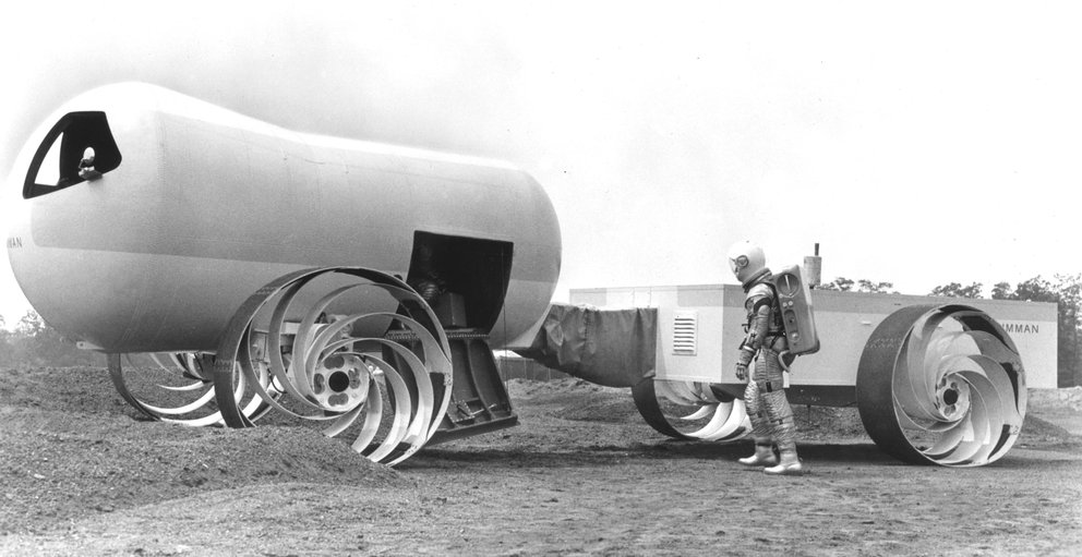 "Konzept eines ""Lunar Roving Vehicle (LRV)"" , 1965 (Quelle: NASA)"