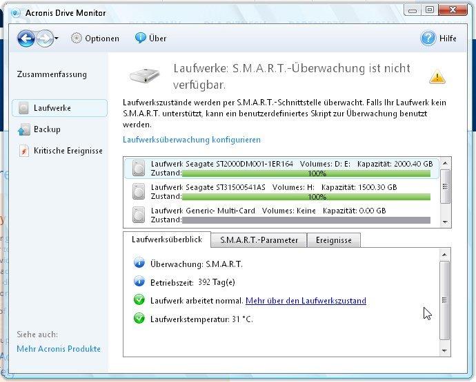 Acronis Drive Monitor im Überwachungsmodus