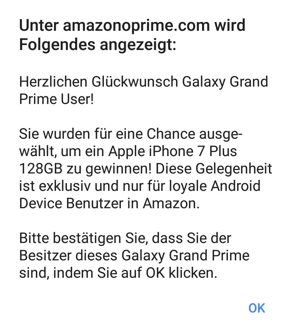 Amazon-Gewinnspiel Werbung im iPhone- und Android-Browser