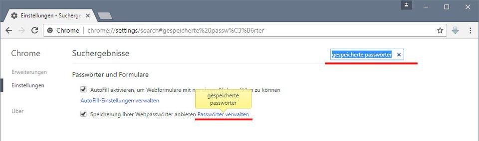 Chrome: Hier könnt ihr alle Passwörter entfernen.