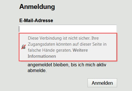 Firefox-Meldung bei Eingabefeldern: Die Verbindung ist nicht sicher.