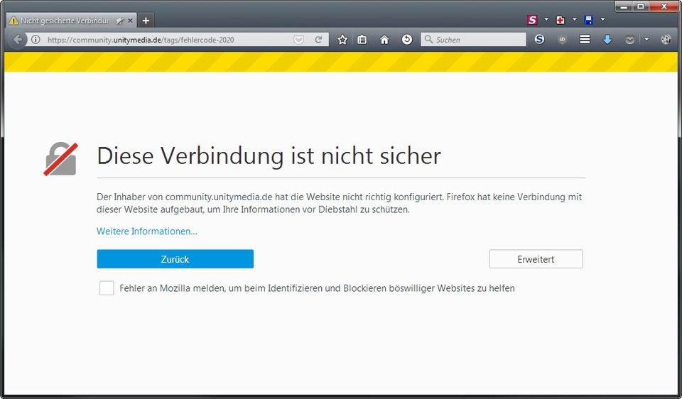 Diese Verbindung ist laut Firefox nicht sicher.