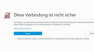 """Was bedeutet """"Diese Verbindung ist nicht sicher"""" in Firefox? Wie umgehen?"""