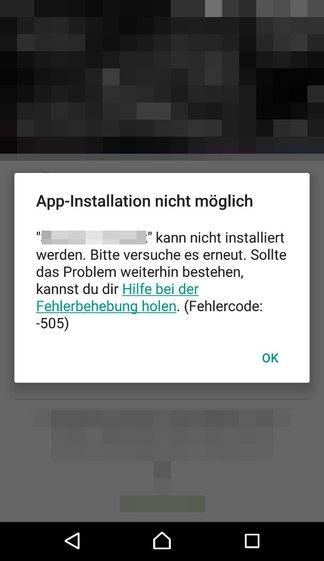 Der Fehlercode 505 während einer App-Installation im Play Store.
