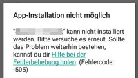 Lösung: Fehlercode 505 in Android