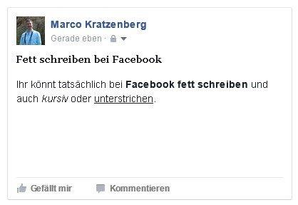Facebook Fett Schreiben