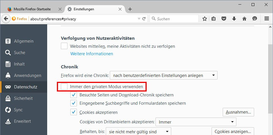 Falls diese Option aktiviert ist, öffnet Firefox nur Inkognito-Fenster, in denen keine Passwörter gespeichert werden.