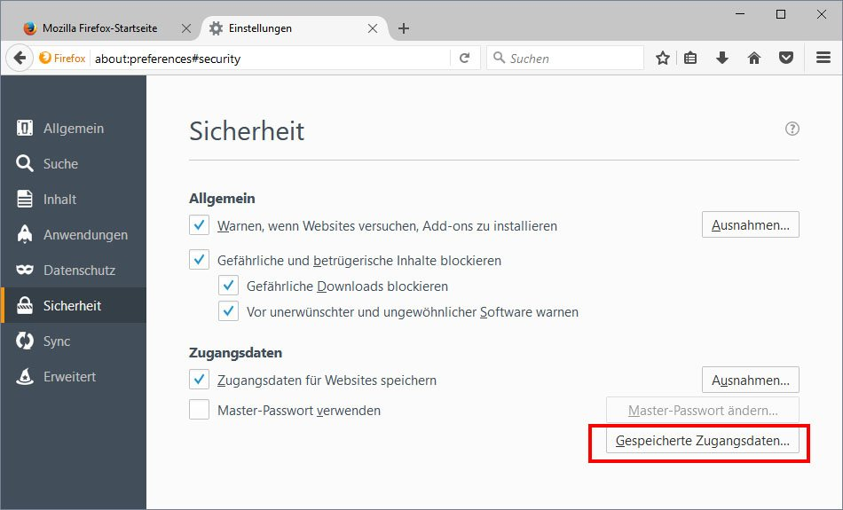 Firefox: Hier könnt ihr alle gespeicherten Passwörter löschen.