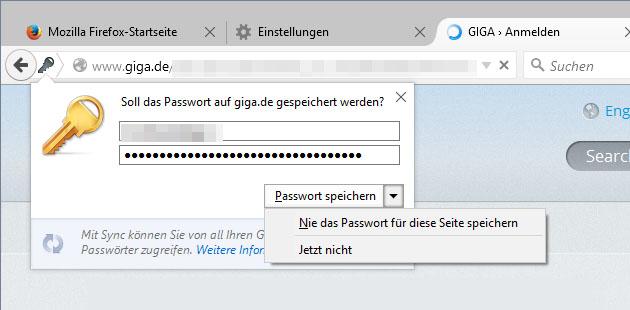 Passwort Nicht Speichern
