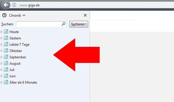 Verlauf anzeigen – sehen, welche Webseiten besucht wurden