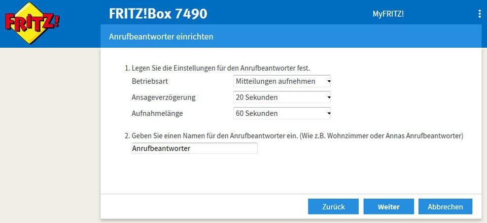 Hier konfiguriert ihr einen neuen Anrufbeantworter in der Fritzbox.