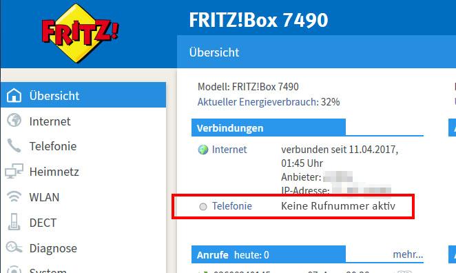 Lösung: Fritzbox – Keine Rufnummer aktiv