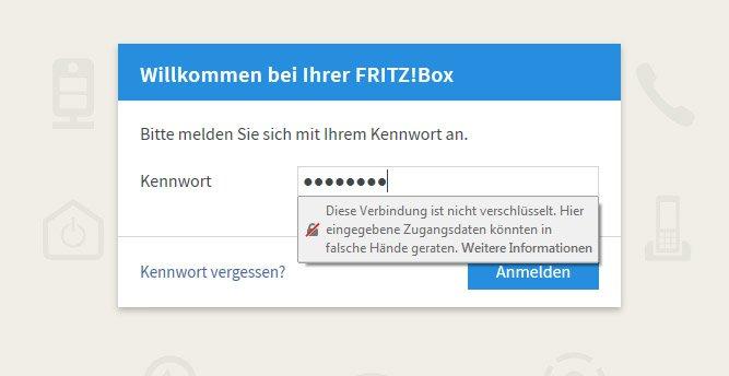 Beim Login auf die Fritzbox-Einstellungen aus dem eigenen Netzwerk, könnt ihr den Hinweis ignorieren.