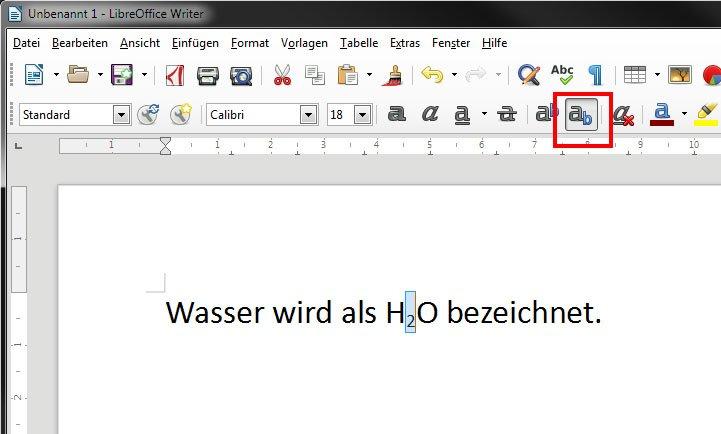 LibreOffice Writer: Klickt auf das Symbol, um Text tiefzustellen.