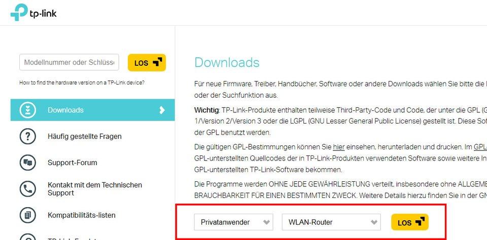 TP-Link: Treiber-Download