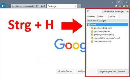 Hier zeigt der Internet Explorer die letzten besuchten Webseiten an.