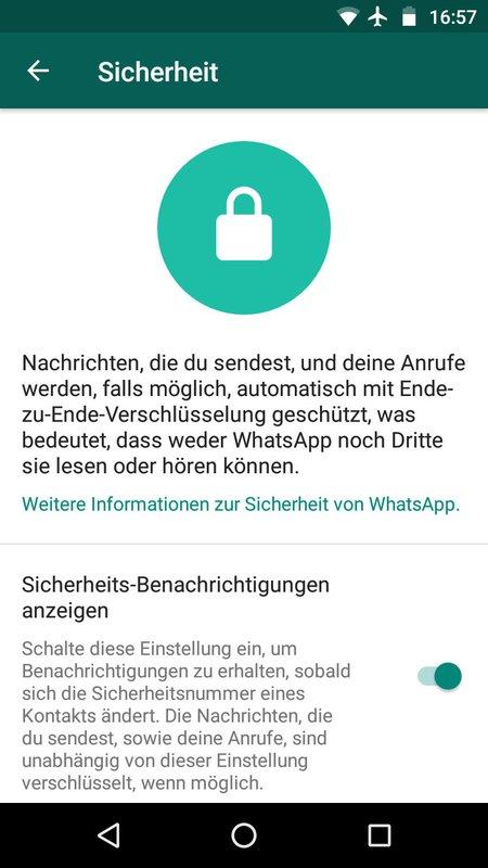 Die WhatsApp-Verschlüsselung ist aktiv.