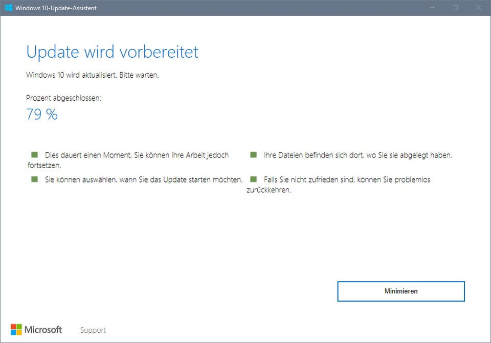 Der Windows 10 Update Assistent.