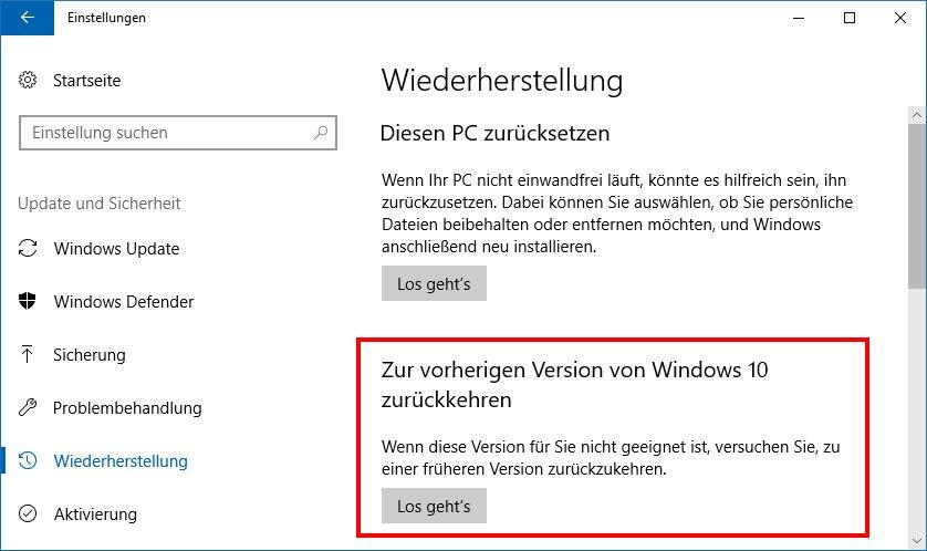 Hier könnt ihr zur vorherigen Windows-Version zurückkehren.