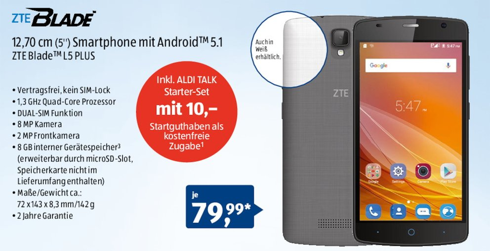 ALDI-Handy-ZTE-Blade-L5-Plus