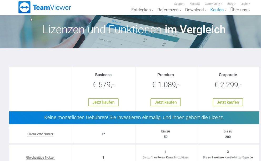 TeamViewer-Lizenzen-Vergleich