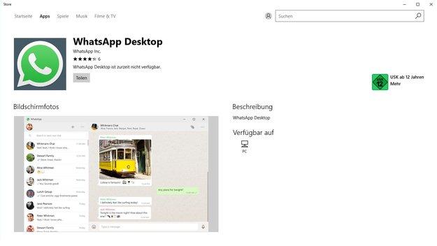 WhatsApp Desktop für Windows 10 ab sofort im Microsoft Store zum Download