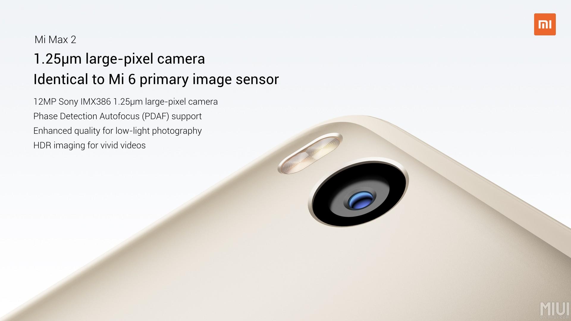 Xiaomi verbaut im Mi Max 2 einen Sony Sensor mit einer Auflösung von 12 MP Die großen Pixeln sollen für eine bessere Bildqualität bei Tag aber in erster