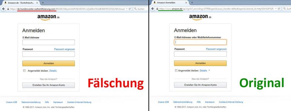 Links die nachgebaute Phishing-Webseite, rechts der echte Amazon-Login.
