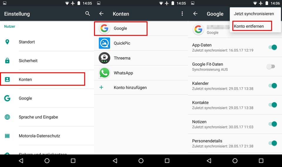 Wenn ihr euch aus dem Google-Konto ausloggt, werdet ihr auch vom Play Store abgemeldet.