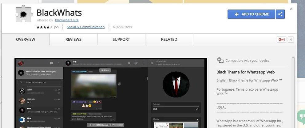 """Screenshot der Chrome-Extension """"BlackWhats"""" im Chrome Webstore – Vorsicht, es handelt sich um Adware!"""