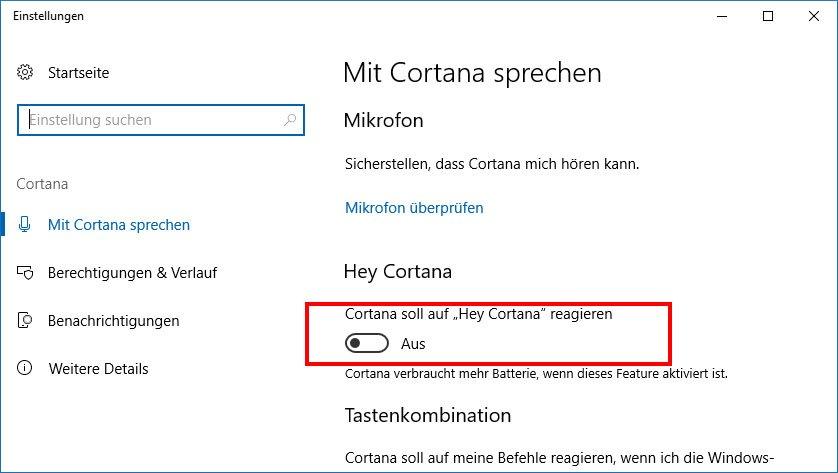 """In den Windows-Einstellungen könnt ihr """"Hey Cortana"""" aktivieren."""