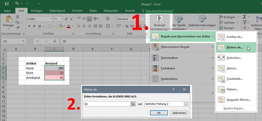 Excel: Dann Zellen färben, wenn bestimmter Wert erreicht ist – so ...