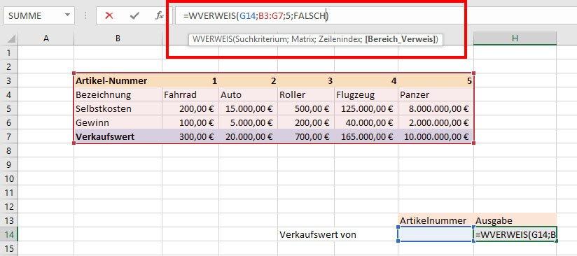 Wir bestimmen die Parameter für die Funktion WVERWEIS.
