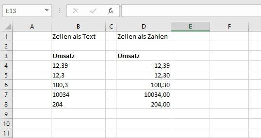 Text ist in Excel standardmäßig links-, Zahlen sind rechtsbündig.