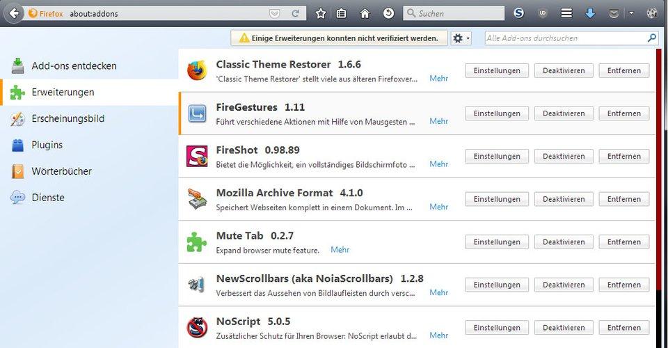 Dieser Firefox wurde durch viele Add-ons mit neuen Funktionen ergänzt.