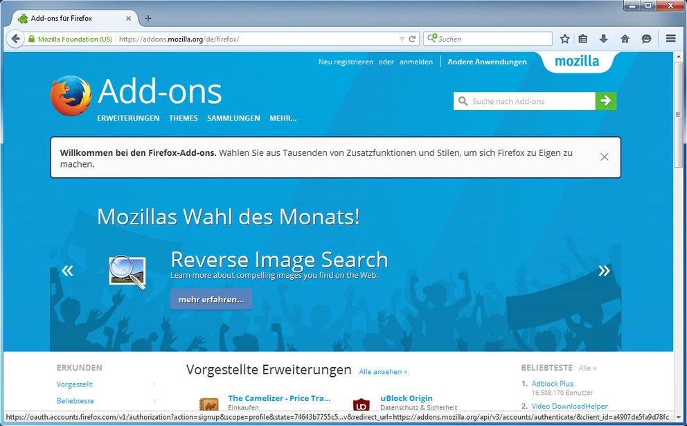Auf der Firefox-Webseite findet ihr viele Add-ons.