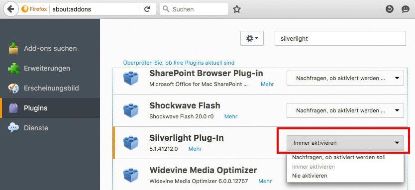 Silverlight Plugin Aktivieren